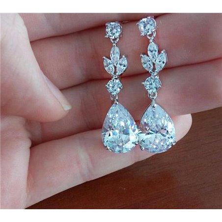 Kolczyki ślubne wiszące z kryształkami stal szlachetna KSL23