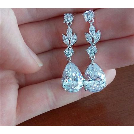 Wedding earrings hanging with crystals, stainless steel KSL23