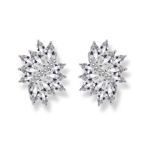 Kolczyki ślubne wiszące z kryształkami KSL12