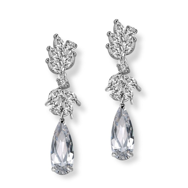 Kolczyki ślubne wiszące z kryształkami stal szlachetna KSL24