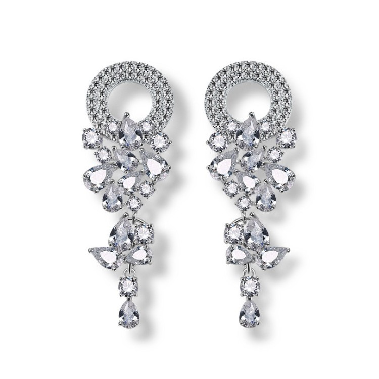 Kolczyki ślubne wiszące z kryształkami stal szlachetna KSL25
