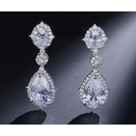 Kolczyki ślubne wiszące z kryształkami stal szlachetna KSL26