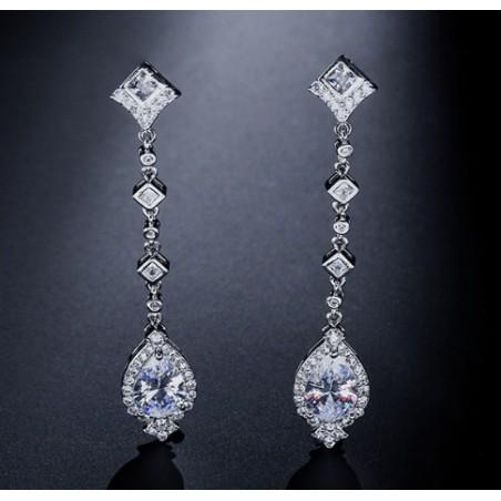 Kolczyki ślubne wiszące z kryształkami stal szlachetna KSL28
