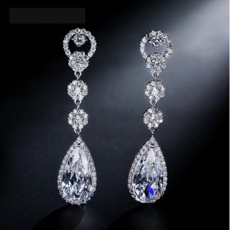Kolczyki ślubne wiszące z kryształkami stal szlachetna KSL31