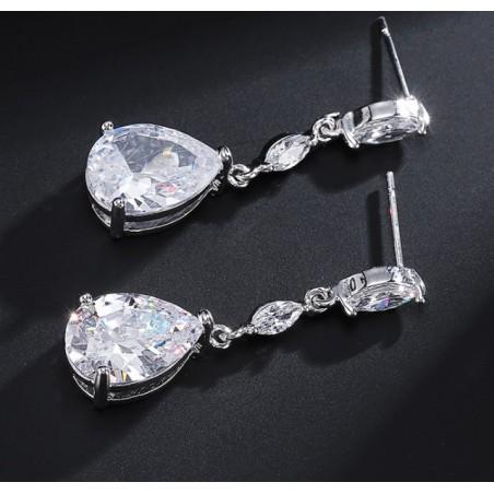 Kolczyki ślubne wiszące z kryształkami stal szlachetna KSL34