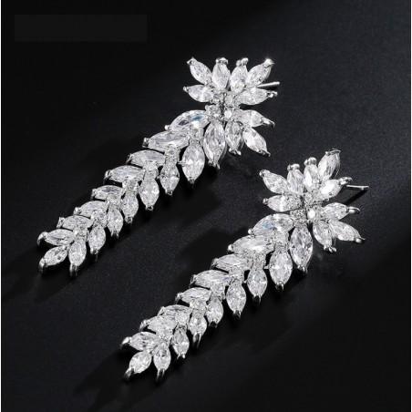Kolczyki ślubne wiszące z kryształkami stal szlachetna KSL38