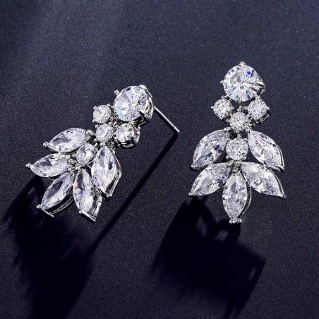 Kolczyki ślubne wiszące z kryształkami stal szlachetna KSL39