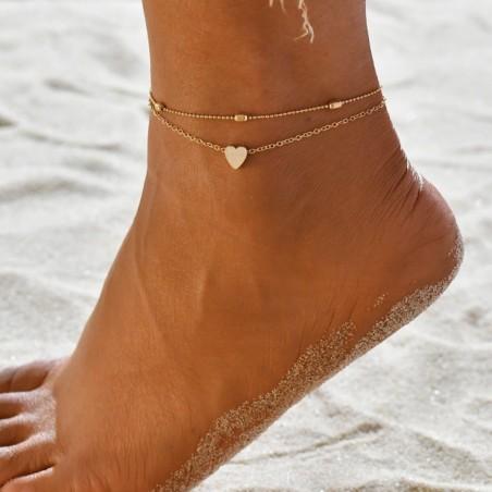 Bransoletka na stopę złota z serduszkiem B270Z