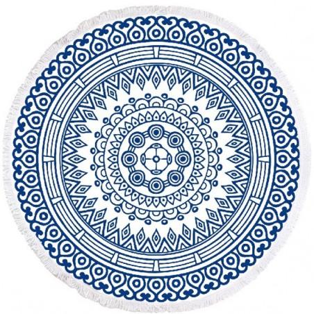 RĘCZNIK PLAŻOWY OKRĄGŁY BOHO MANDALA BLUE REC35WZ48