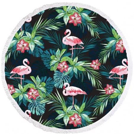 Ręcznik plażowy okrągły BOHO flamingi REC35WZ50
