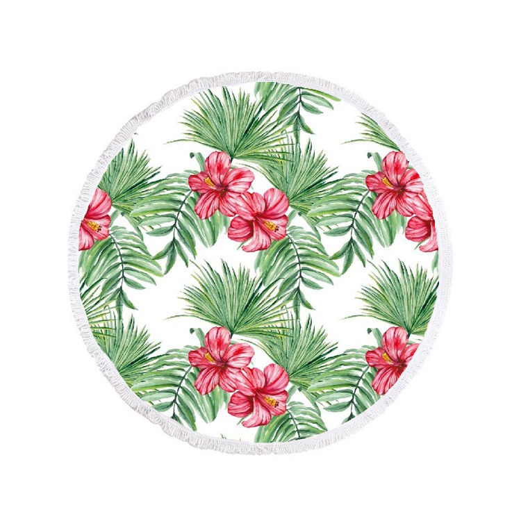 Ręcznik plażowy okrągły BOHO kwiaty i liście REC35WZ54