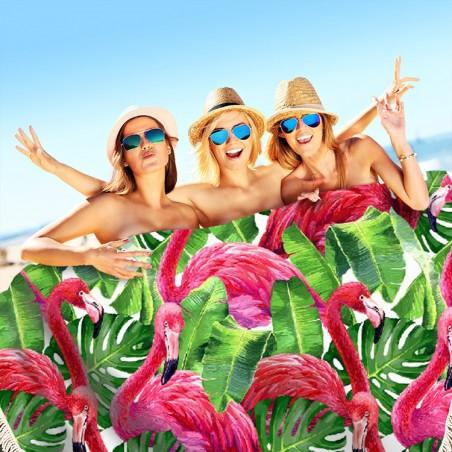 Ręcznik plażowy okrągły BOHO flamingi REC35WZ49