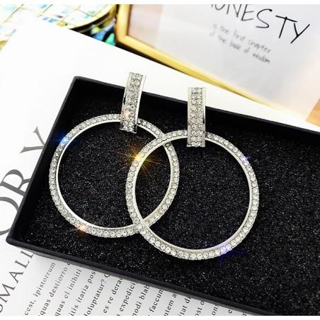 KOLCZYKI Koła kryształ srebrne K1155S