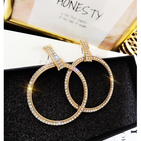 KOLCZYKI Koła kryształ złote K1155Z