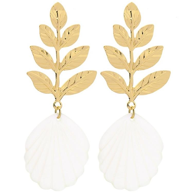 KOLCZYKI liście perła wysoka jakość K1146