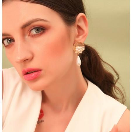 KOLCZYKI muszla perła wysoka jakość K1145