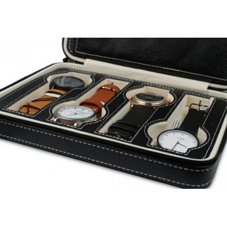 Pudełko etui organizer przenośny na 8 zegarków czarny PD60CZ