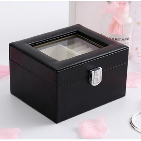 Szkatułka kuferek etui organizer na biżuterię czarna PD98CZ