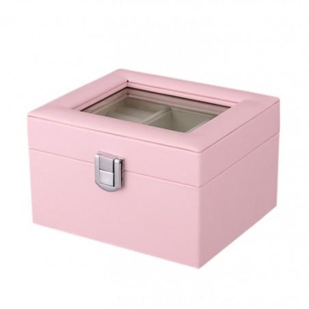 Szkatułka kuferek etui organizer na biżuterię różowa PD98R