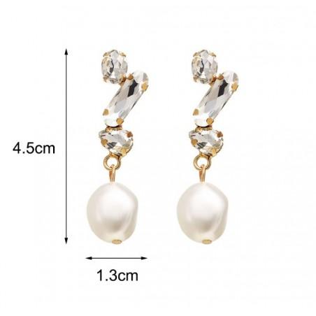 Kolczyki wiszące perły kryształ K1163