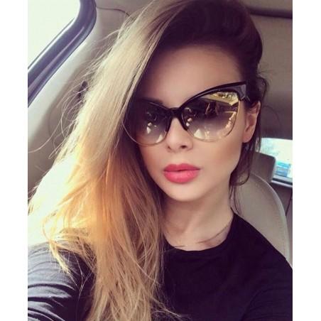 Okulary przeciwsłoneczne fandia kocie oczy OK171 czerń ze złotym