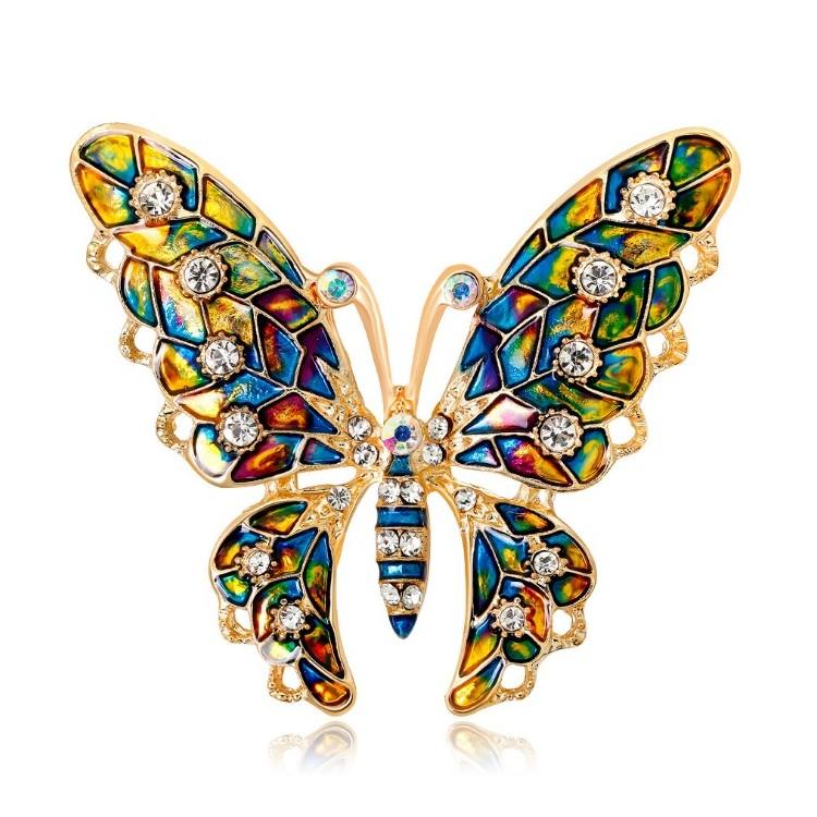 Broszka Dżetowa Motyl z kryształem BZ1
