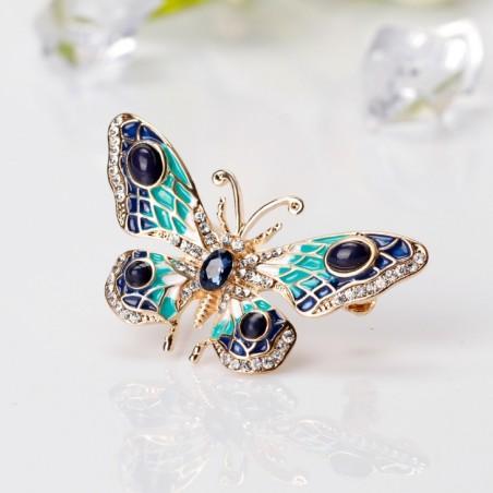 Broszka Dżetowa Motyl z kryształem BZ2