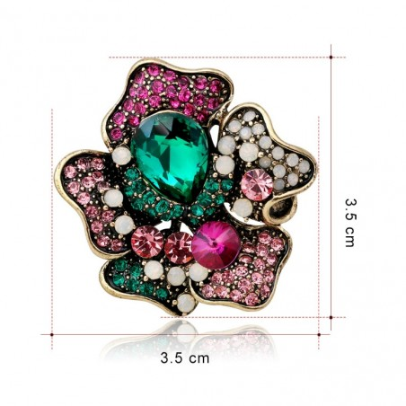Broszka kwiat rozeta dżetowa BZ10