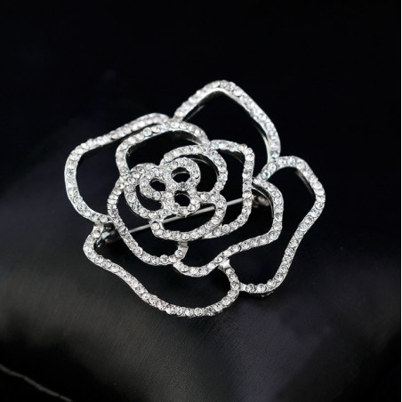 Broszka róża w srebrze BZ28