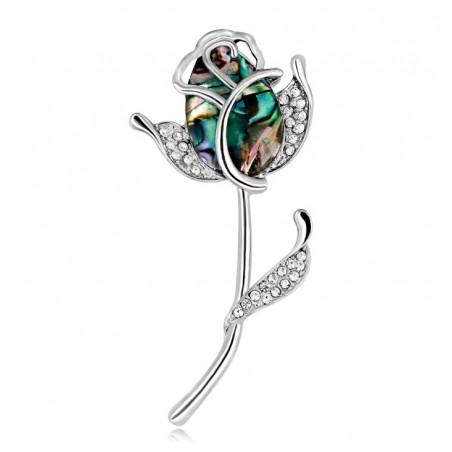 Broszka róża opal BZ29