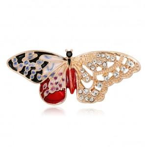 Broszka czerwony motyl BZ41