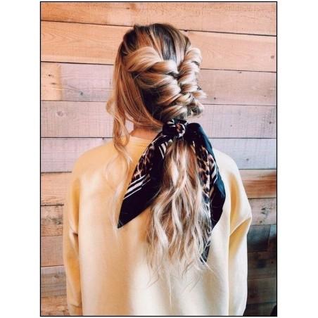 Gumka do włosów apaszka długa czerwona kwiaty PIN UP GUM9WZ4