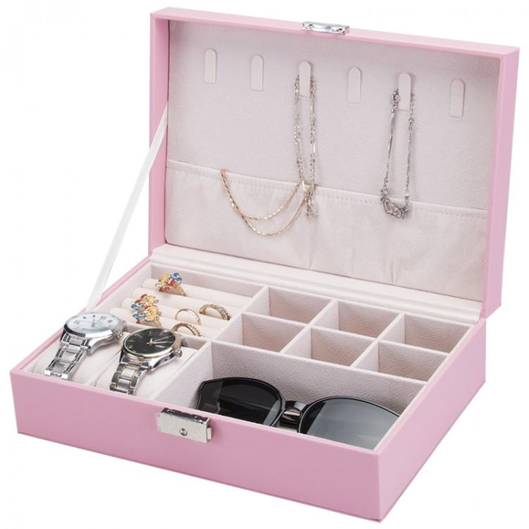 Szkatułka na biżuterię, etui, organizer, pudełko różowa PD100