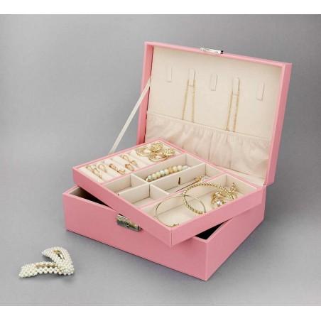 Szkatułka na biżuterię dwupoziomowa, etui, organizer, pudełko różowa PD101