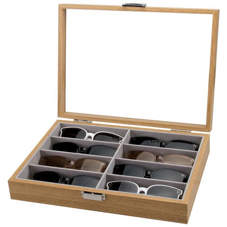 Szkatułka 8 przegródek na okulary lub akcesoria PDMDF07
