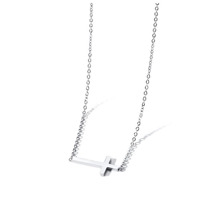 Naszyjnik stal chirurgiczna krzyżyk srebrny NST913