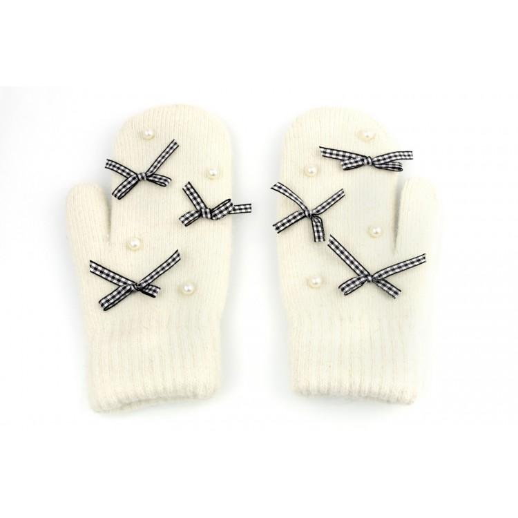 Rękawiczki cute kokardki i perełki kremowe REK102