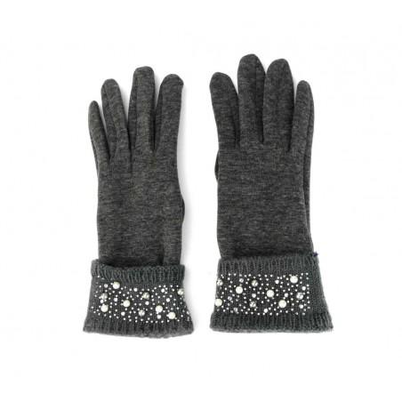 Rękawiczki z ozdobnymi koralikami i perełkami REK24