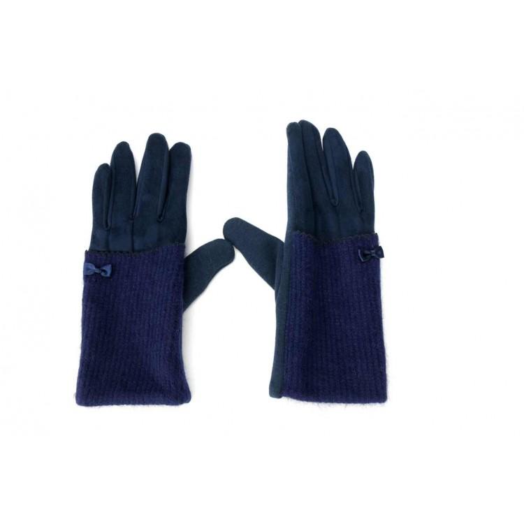 Rękawiczki sweet z kokardką nakładka REK11GRAN granat