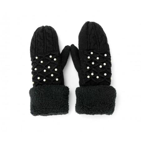Rękawiczki perełkowe czarne REK46CZ